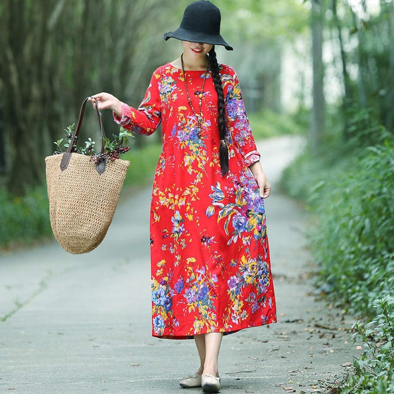Cxlyq Dresses Autumn Cotton and Linen Loose Large Size Dress Long Sleeve Waist Long Skirt