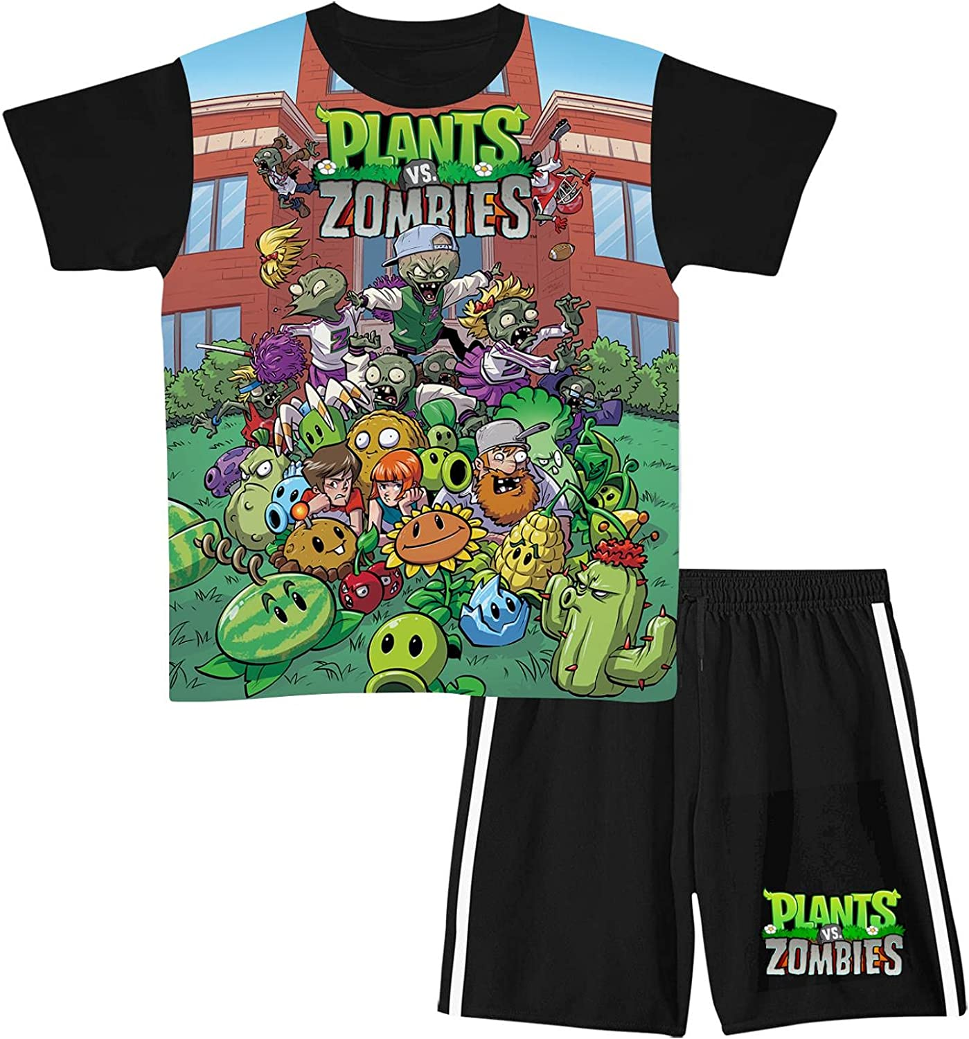 Pl-Ants vs. Zombies Toddler Baby Boy Clothes Tank Top and Pants Sets,Cute Tops and Shorts Set 2 Piece Outfit