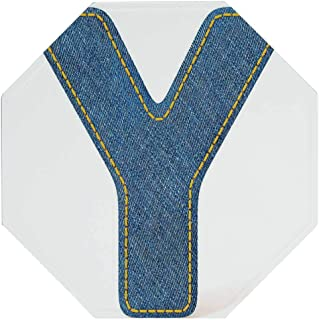 Hitecera Letter Y Vintage Octagonal Tin Sign,ABC of Vintage Fashion Theme Jeans Fabric Denim Texture and Uppercase Y Image Decorative for Decorating Bars,12