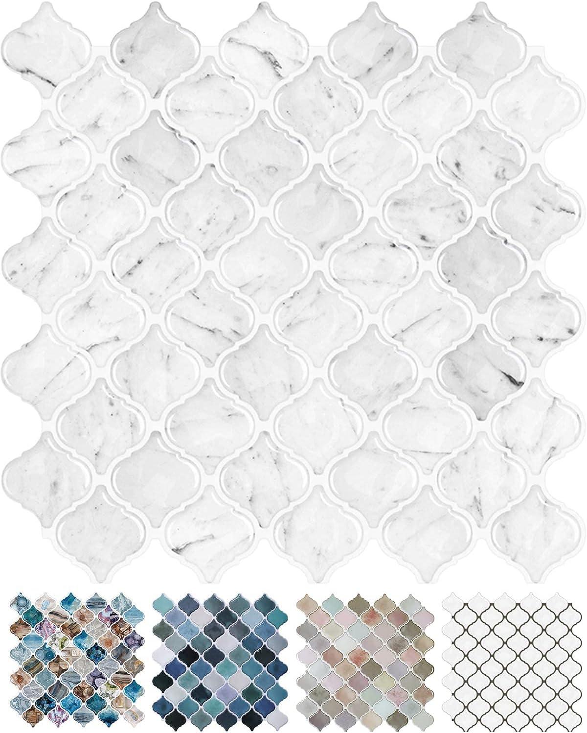 STICKGOO Max 47% OFF 10-Sheet Carrara Arabesque Quality inspection Tile Peel Backsplash Stick
