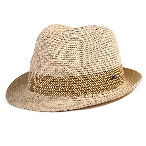 92845d4d SiggiHat Panama Summer Fedora Trilby Straw Sun Hats For Men Safari Beach Hat  - Foldable