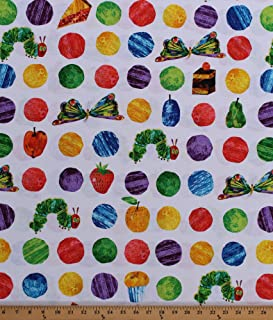 Cotton The Very Hungry Caterpillar Polka Dots Butterflies Cake Desserts Treats Fruit Food Eric Carle Kids Cotton Fabric Print by The Yard (A-7232-X)