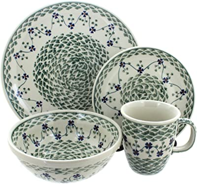Blue Rose Polish Pottery Sage Floral 16 Piece Dinner Set