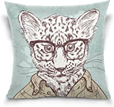 "MASSIKOA Hipster Leopard with Glasses and Suit Decorative Throw Pillow Case Square Cushion Cover 18"" x 18"" for Couch, Bed,..."