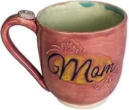 Mom Pink Blue Button Large 16 oz. Handmade Ceramic Coffee Mug