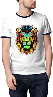 Man Lion Reggae Music Flag Breathable Cotton Fishing Crew Neck Short Sleeve T-Shirts