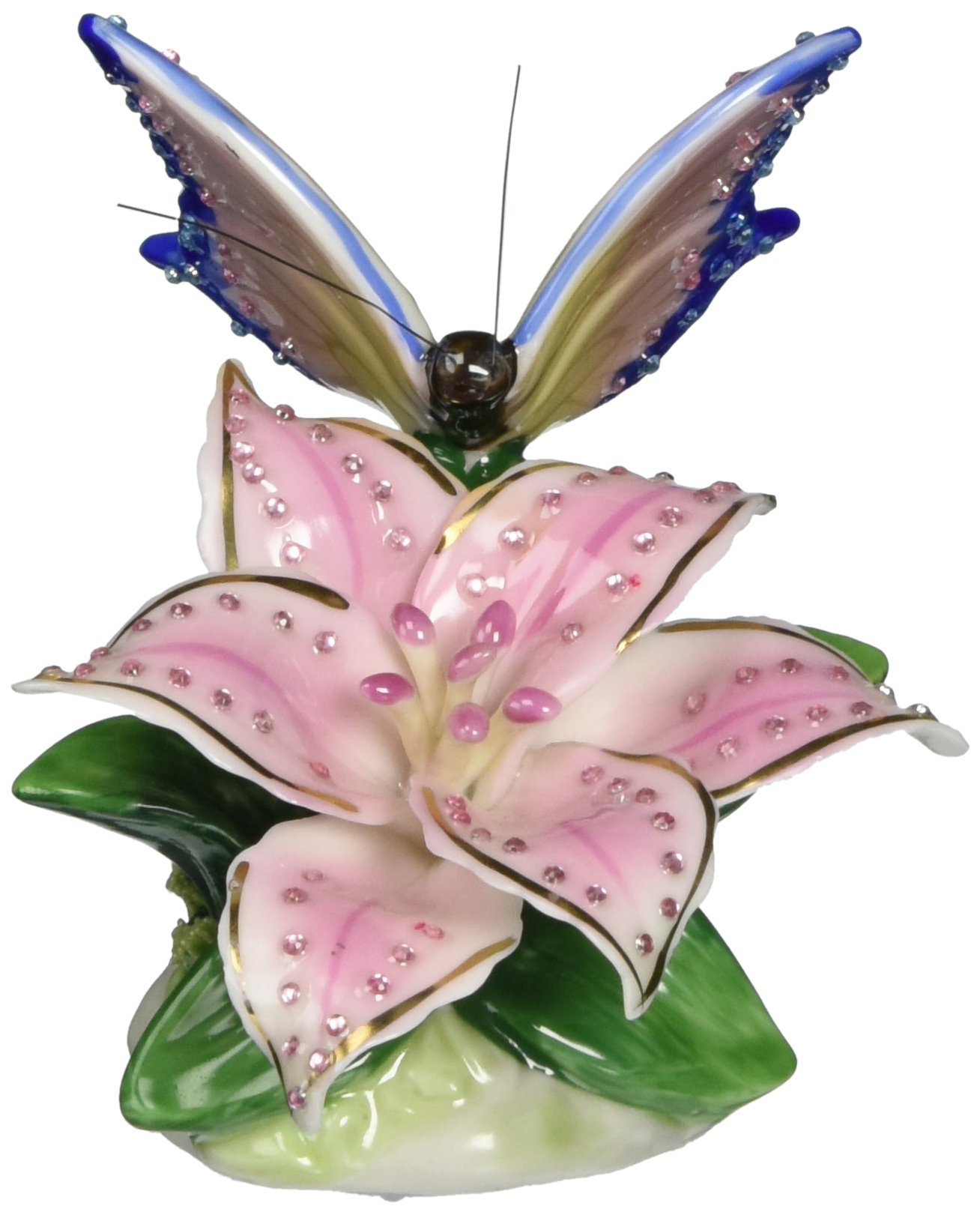 Image of Pink Lily and Butterfly Musical Figurine
