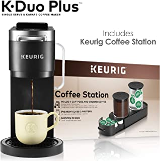 Keurig K-Duo Plus Coffee Maker, Single Serve K-Cup Pod and 12 Cup Carafe Brewer, with Keurig Station K-Cup Pod & Ground Coffee Storage Unit, Black