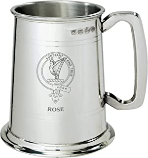 Rose Clan Crest Tankard 1 Pint Pewter