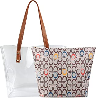 Shoulder Bags,2 in 1 Women Handbags Clear Bag with Signature Inner Bag