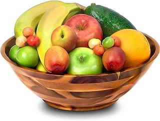 Wood Bowl Acacia - Wooden Salad Bowl - 12 x 4 x 12 inch, Salad Mixing, Serving, Wood Fruit Bowl