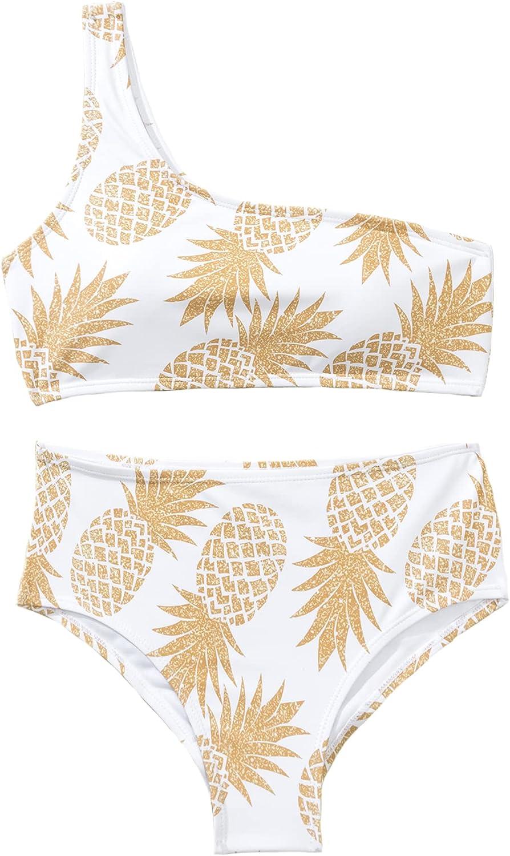 S SUMERSHE Womens Two-Piece Asymmetric One Shoulder Bikini Set Pineapple Print Bathing Suit