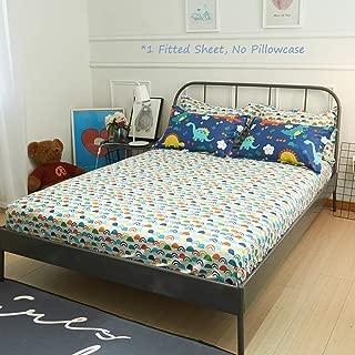 karever Dinosaur Fitted Sheet Twin Rainbow Printed Cotton Bed Bottom Sheet for Toddler Kids Boys Girls, Deep Pocket, 1 Piece