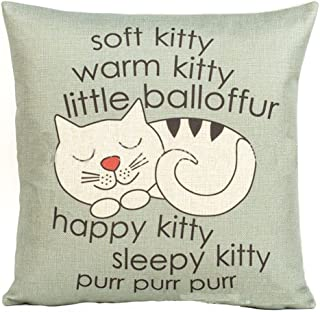 Decorbox Happy Sleepy Kitty Print Cat Pillow Cushions Cover Throw Pillow Cover For Sofa Office Decorative Pillowslip Gift Ideas Household Pillowcase 18