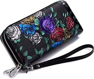 imeetu Long Wallet Purse, Leather Card Holder Case with Wrist Strap(Multi-Rose)