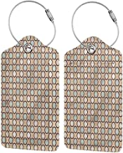 Travel Baggage ID Identifiers Label, Suitcase Tag Set, Stainless Steel Loop Abstract Floral Motif Chain Mesh (1,2 & 4 Pack)