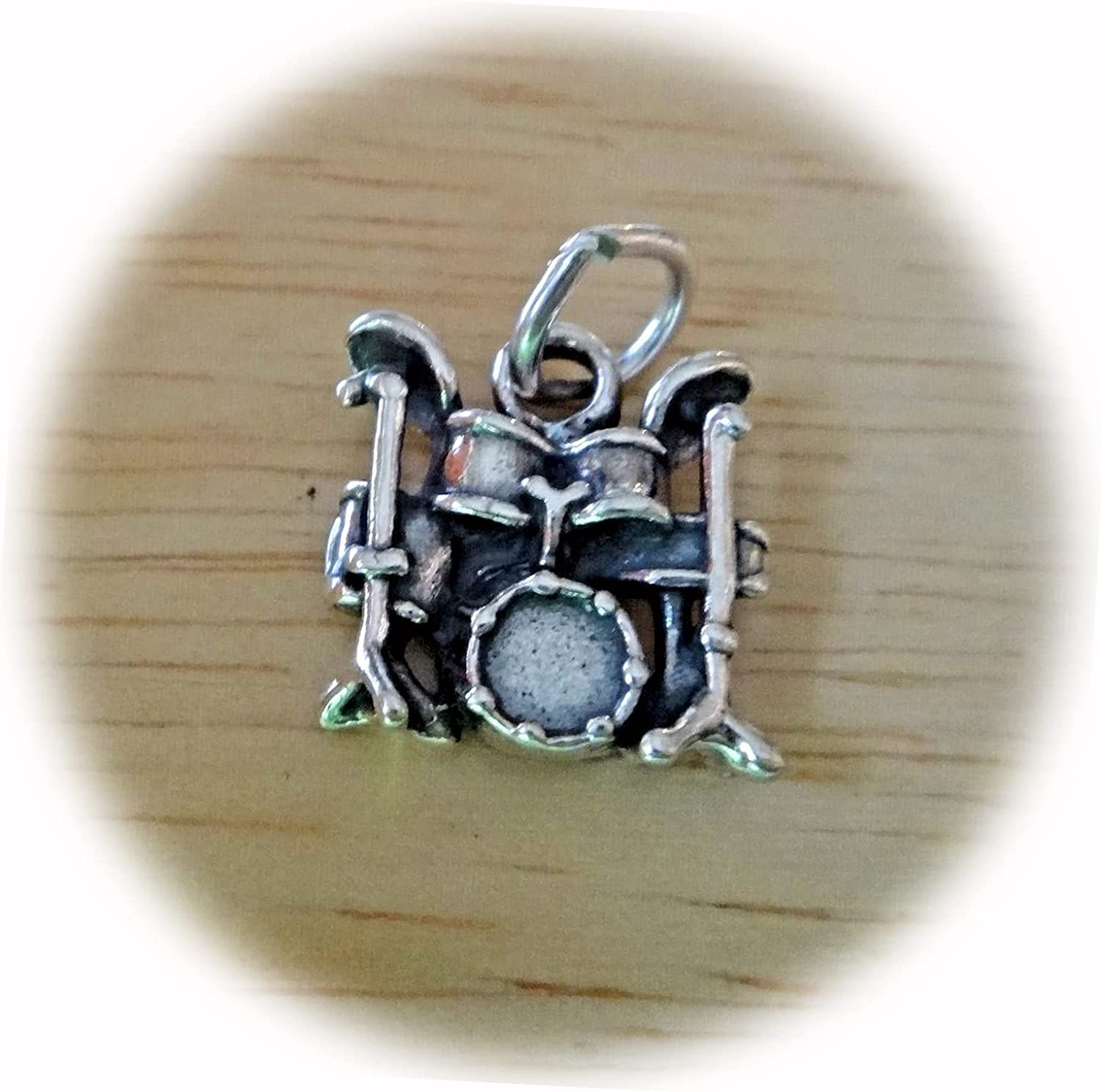 New Sterling Silver 13x13mm Small Drum Music Cheap SALE Start Cymbals Charm Set 2021new shipping free S