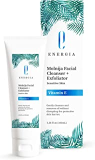 Molnija Facial Cleanser and Exfoliator with Vitamin E, Dual Foam Action Face Wash and Exfoliator Made with Natural Herbal ...