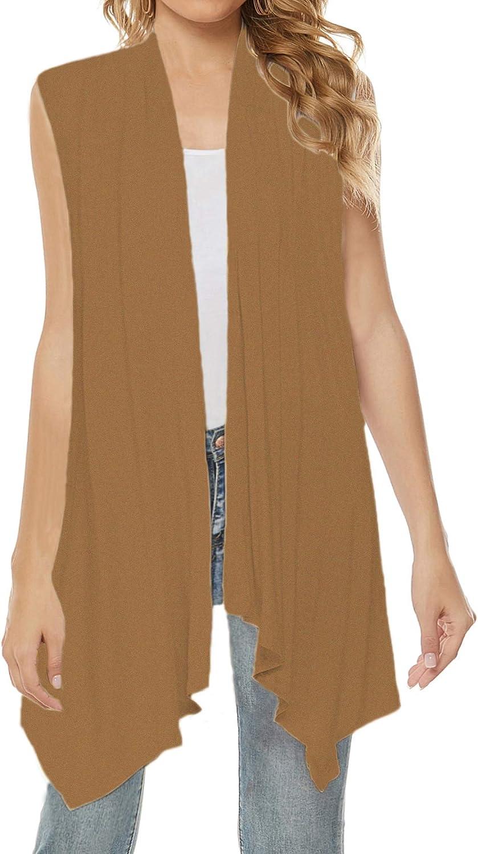Women's Drape Cardigan Long Sleeve/Sleeveless Open Front Cardigans Irregular Hem Dusters Lightweight Sweater