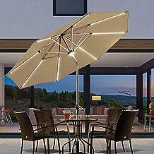 Patio-paraplu, met zonne-verlichting Tuinparasol Kantelbare tuinparasol 2.7m Strandparasol Outdoor-paraplu Aluminiumlegeri...
