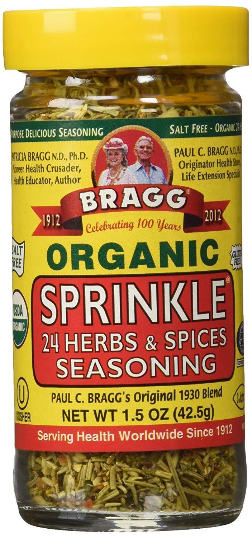 Bragg's Organic Variety Pack for Cooking: Bragg Organic Liquid Aminos 16 Oz + Bragg's Sprinkle Seasoning Blend - 24 Herb & Spices, 1.5 Oz; With Bonus Measuring Spoon