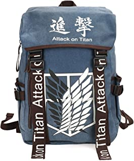 CoolChange Mochila Grande de Attack on Titan con Logo de la Legion de reconocimiento, Azul