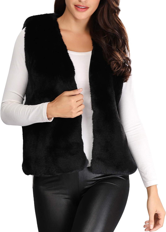 Caracilia Women's Faux Fox Fur Trim Hooded Knit Cape Cloak Coat Thick