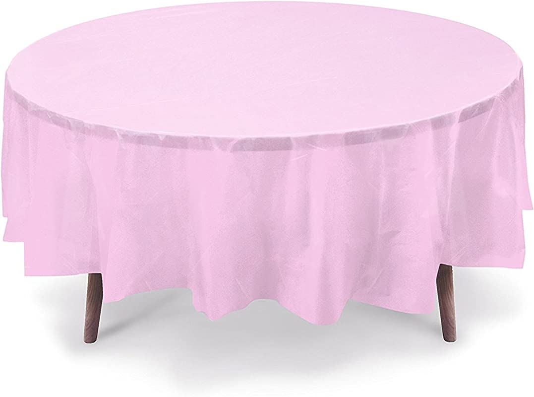 10 Pack 84 Round Plastic Table Cover Plastic Table Cloth Reusable PEVA Light Pink
