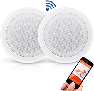 "Pyle 2 Pair 8"" Bluetooth Flush Mount in-Wall in-Ceiling 2-Way Universal Home Speaker System Spring Loaded Quick Connections Polypropylene Cone Polymer Tweeter Stereo Sound 250 Watts (PDICBT852RD)"
