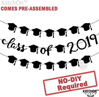 Class of 2019 Graduation Garland Banner - Assembled - Graduation Party Supplies 2019 | Graduation Decoration Black | Graduation Cap Decoration Banner Sign for High School, College Graduation, Felt