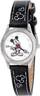 Disney Women's MK1006 Mickey Mouse White Dial Black Strap Watch