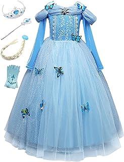 936de2c60069f Beunique Fille Robe Princesse avec Papillon Reine des Neiges Bleu Costume  Déguisements Robe de Soirée Carnaval