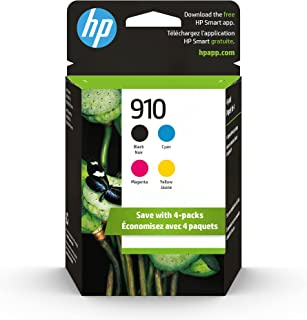 HP 910 | 4 Ink Cartridges | Black, Cyan, Magenta, Yellow | Works with HP OfficeJet 8000 Series | 3YL61AN, 3YL58AN, 3YL59A...