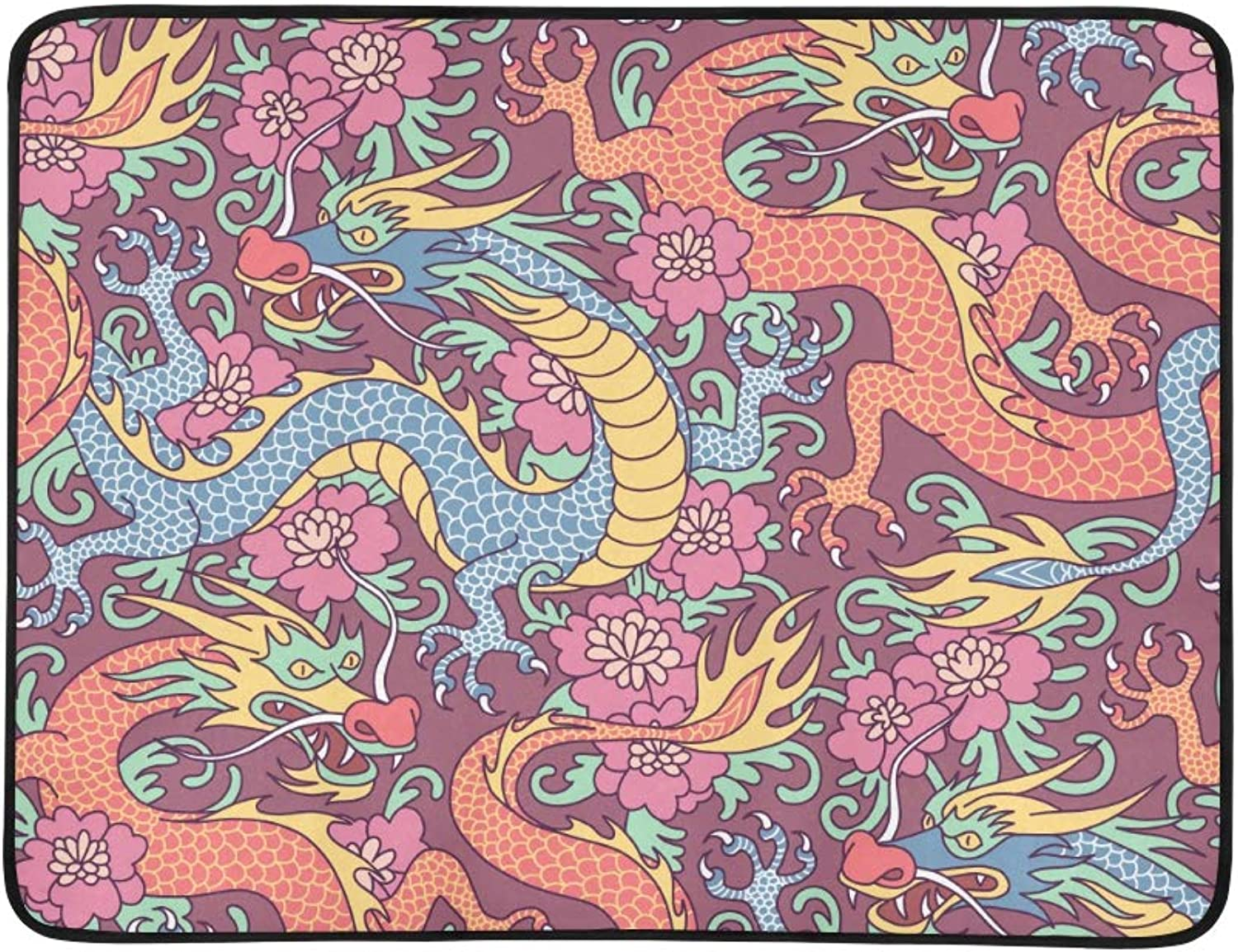 Dragons Fighting in The Clouds Pattern Portable and Foldable Blanket Mat 60x78 Inch Handy Mat for Camping Picnic Beach Indoor Outdoor Travel