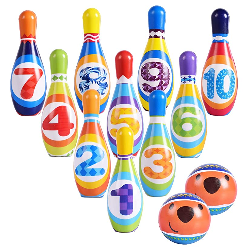 Max Fun Kids Bowling Play Set Bowling Games with 10 Pins and 2 Balls for Toy Gifts Party Favors, Educational, Early Development, Sport