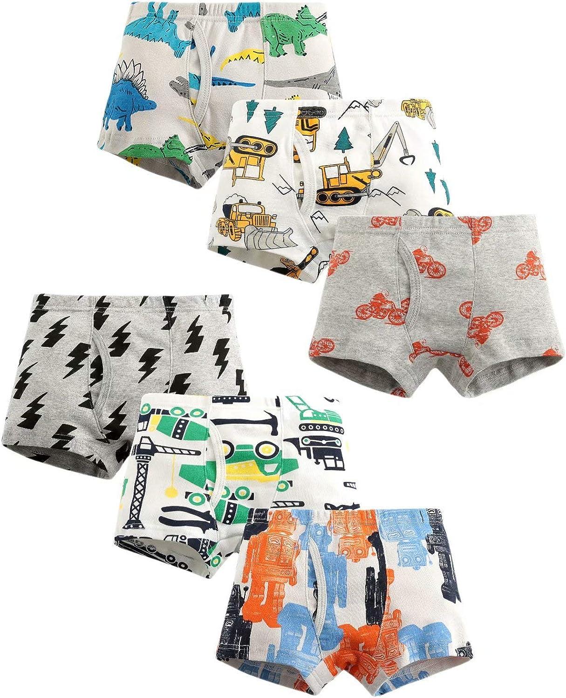 ARTMINE Little Boys Cotton Boxer Briefs Soft Underwear for Kids 6-Pack