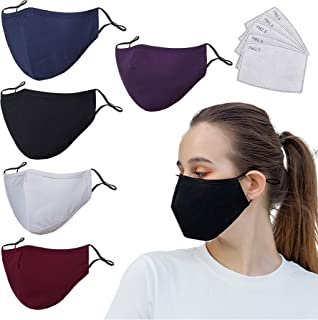 5 Pack Protective Covers with Carbon Filters,Washable Reusable Cloth Cotton Blend Protection Cover