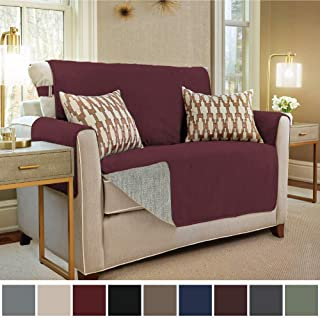 Gorilla Grip Original Slip Resistant Loveseat Slipcover Protector, Seat Width Up to 54 Inch Suede-Like, Patent Pending, 2 Inch Straps, Hook, Furniture Cover for Kids, Dogs, Pets, Love Seat, Merlot