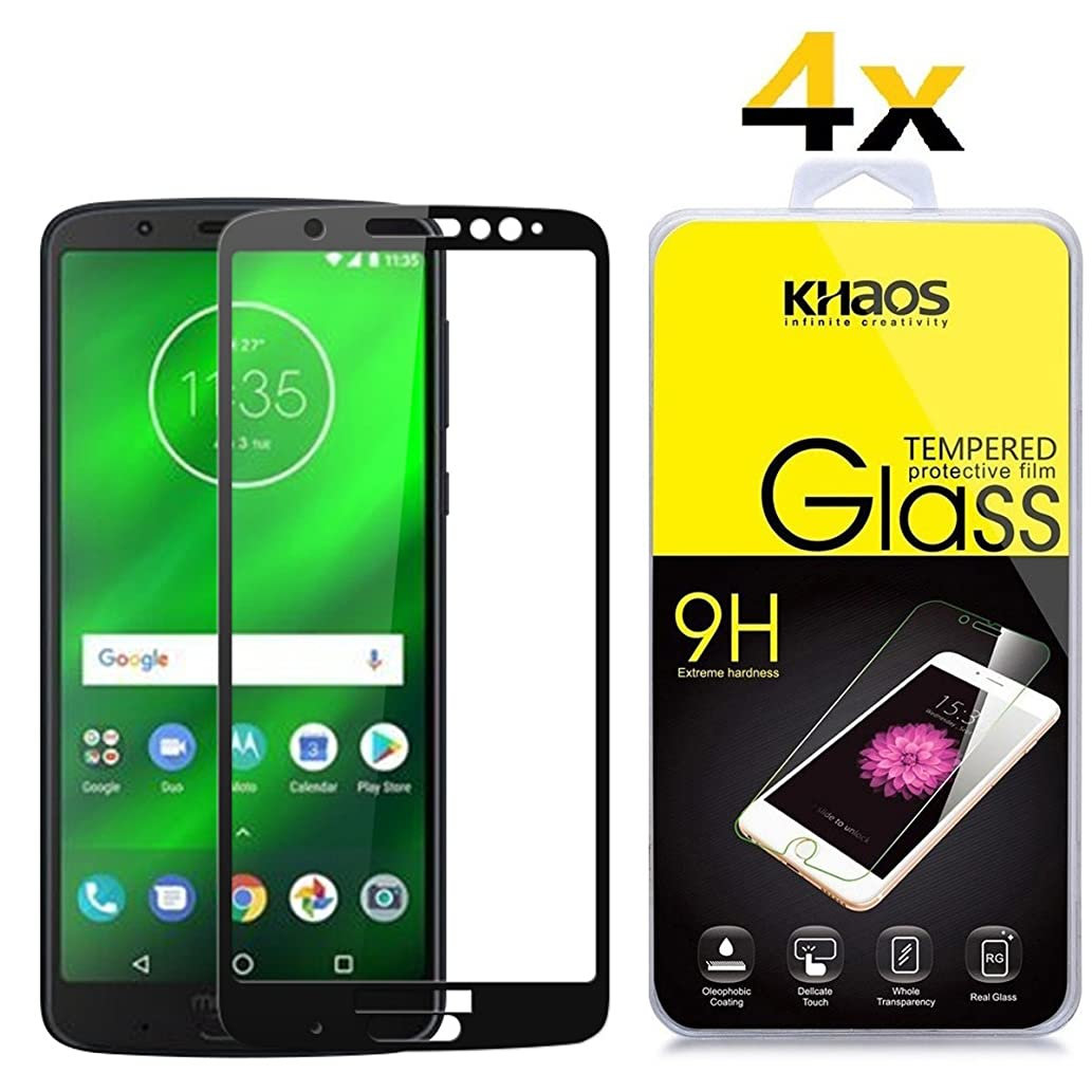 [4 Pack] Screen Protector for Motorola Moto G6 Plus, Full Cover KHAOS Tempered Glass Screen Protector Ultra Clear Scratch Resistant for Motorola Moto G6 Plus -Black