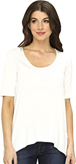 Three Dots Women's 1/2 SLV Relaxed High Low Tee