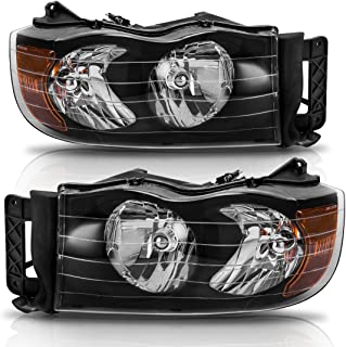 Headlight Assembly for 2002-2005 Dodge Ram Pickup Truck Headlamps Replacement Black Housing Amber Reflector Clear Lens (Passenger and Driver Side)