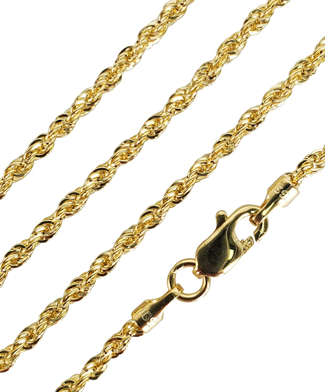 Panache 10K Genuine Yellow Gold Necklace Rope Chain 16'' - 30