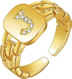 CottonVOTT الذهب الجريئة حرف الأولي مفتوحة خاتم قابل للتعديل نساء بنات بيان خواتم الأبجدية A-Z