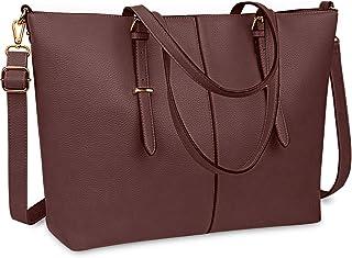 NUBILY Laptop Damen Handtasche 15,6 Zoll Shopper Handtasche Elegant Leder Taschen Große Leichte Elegant Stilvolle Frauen H...