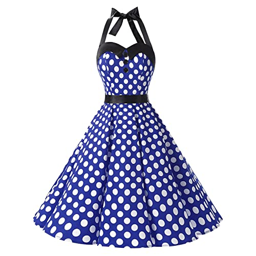 Blue and White Polka Dot Dress: Amazon.com