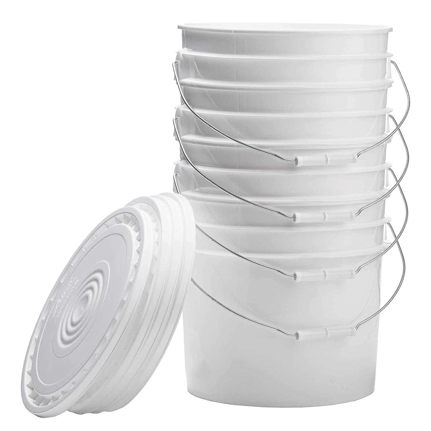 Hudson Exchange Premium 3.5 Gallon Cheap sale 2021new shipping free shipping Bucket Whit Lid Pack 4 with