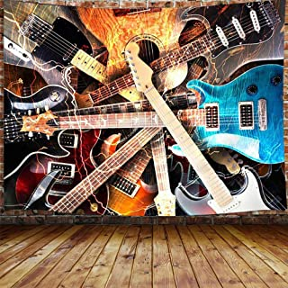 """Music Tapestry, Guitar Musical Tapestry Wall Hanging for Bedroom, Instrument Rock Style Lover Tapestry Home Decor (80"""" W X..."""