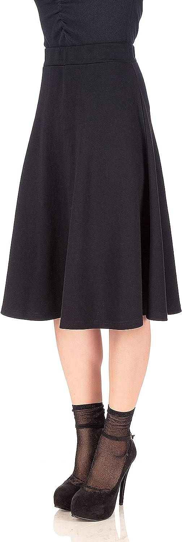 Dani's Choice Everyday High Waist A-line Flared Skater Midi Skirt