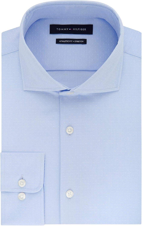 Tommy Hilfiger Mens Fitted Stretch Flex Collar Dress Shirt 17 36/37 Light Blue