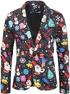 Men's 3D Printed Christmas Blazer One Button Santa Costume Blazer Peak Lapel Suit Jacket for Spring Winter